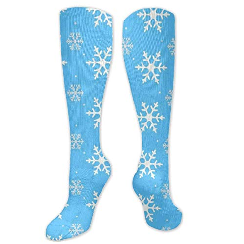 winterwang Blue Frozen Snowflake Unisex Polyester + Spandex Trendy Calcetines, Cosplay Boot Long Tube Calcetines sobre ee Leg High Calcetines fo