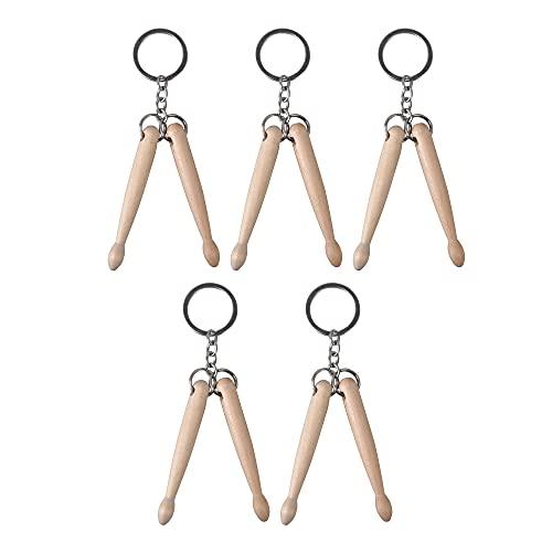 Yibuy 5 x llavero de anillo de metal mini batería color madera para regalo de almacenamiento clave