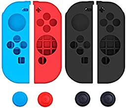 Pegly Joy-Con Grips Gel Guards with Thumb Grips Caps Protective Case Covers Anti-Slip Ergonomic Lightweight Joy Con Comfort Grip Controller Skin For Nintendo Switch Joy Con Four Pieces Black Red Blue