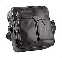 Seven K Genuine Leather Front-Pocket Detachable Shoulder Strap Zipped Crossbody Bag for Men - Black - 2725607185957