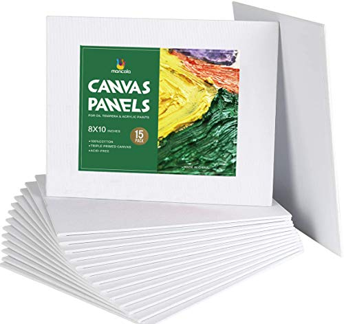 Mancola Artist Painting Canvas Panels - 8x10 Inch / 15 Pack - Triple Primed Cotton Canvas Boards for Oil & Acrylic Painting MA-181015
