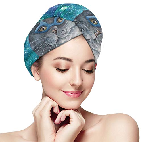 Super Cat on Space Galaxy Dry Hair Cap Microfibre Hair Towel Wraps Ultra Absorbent Quick Dry Twist Turban with Button for Drying Curly Long Thick Hair 28 inch X 11 inch