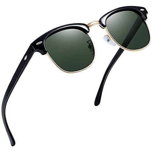 Joopin Retro Halbrahmen Sonnenbrille Herren/Damen Klassische Polarisierte Sonnenbrille mit UV400 Schutz