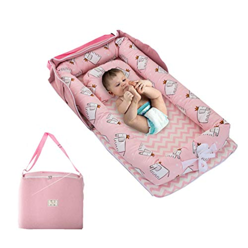 Newborn Baby Girl Nest Bed,Pink Elephant Printed Baby Bassinet Cot Bed, Super Soft and Comfortable Baby Portable Crib Baby Lounger with Bag Perfect for Travel/Co-Sleeping