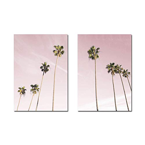 Hawaii Coastal Palm Tree Wall Art Canvas Painting Paisaje Poster Print Minimalista Imagen nórdica Decoración...