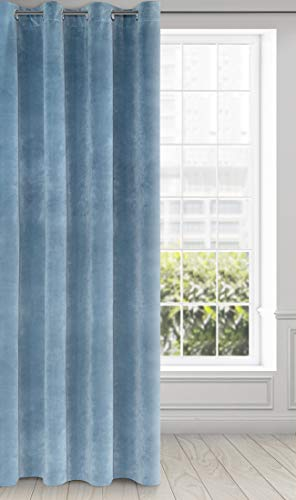 Eurofirany Ria Cortina de Terciopelo Suave con Ojales, 1 Unidad. Elegante, Glamour Dormitorio, salón, Azul, 140X250cm