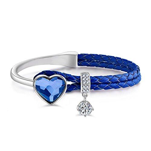 Le Premium Pulsera Trenzada de Cuero de napa con Cristales en Forma de corazón de Swarovski- Denim Blue -Mezclilla Azul -Circunferencia de 175 mm