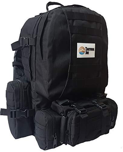 OutdoorJoe TacticalJoe Outdoor 40L taktischer 3-Tages-Pack mit Molle Pouches und Scout Pack (Schwarz)