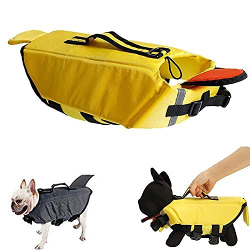 Dog Life Jackets Adjustable- Pet Lifesaver Safety Reflective Vest- Dog Flotation Vest Coat with Handle- for Swimming,Surfing,Boating- Shark, Duck Shape Design(Yellow/Gray)