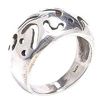 指輪 シルバー925 リング メンズ SILVER925 銀 ブランド 甲丸カット 14号 透かし彫り 幅あり 太い 太め シンプル 幅あり デザインリング