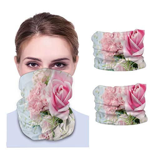 SLHFPX Roses Pink Flowers Neck Gaiter Face Mask Set of 2 Bandana Anti-Dust Marks Windproof Neck Warmer for Outdoor Sports