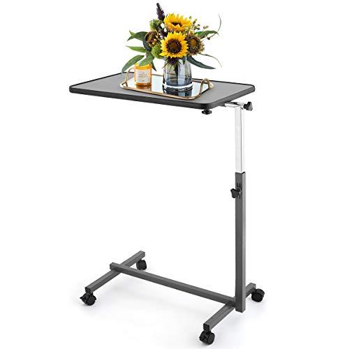 DREAMADE Beistelltisch, Betttisch Laptoptisch Pflegetisch Notebooktisch, Höhenverstellbar Neigungsverstellbar mit Rollen und Bremsen (Grau)