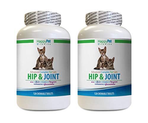 Best Hip and Joint Supplement for Cats - CAT Hip and Joint Complex - Helps Stiff Joints - Triple Strength -msm for Cats - 2 Bottles (240 Tabs)