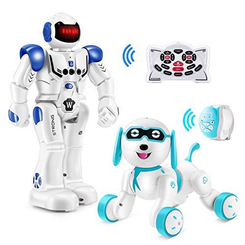 Hamdol Remote Control Robot & Dog, RC Robot Gesture Sensing Robot Programmable Smart Robot & RC Robotic Stunt Puppy, Singing Dancing Walking Kids Toys for Birthday & Christmas