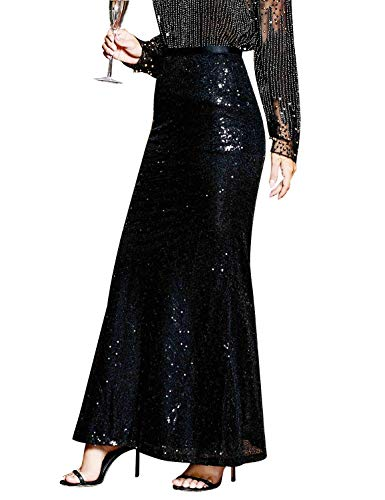 glitter sequin deco,sparkle maxi long skirt; Size: S = US 4-6; M = US 8-10; L = US 12-14; XL = US 14-16;please check the detail Size Chart in the last image
