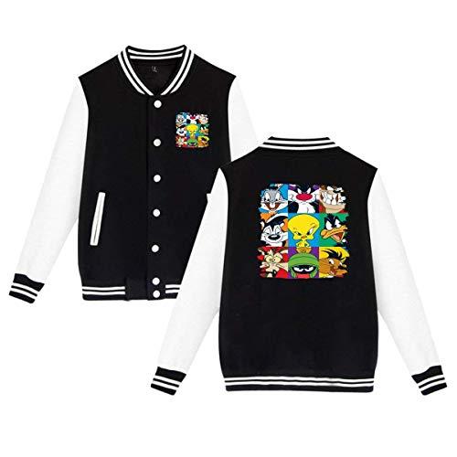 Caiondliil Unisex Comfort Looney Tunes Bugs Tweety Daffy Taz Logo Gift Baseball Uniform Jacket Plus Velvet L Black