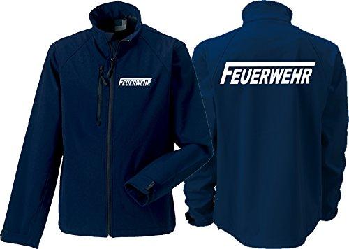 Feuer1 Veste softshell (moyenne) Navy, pompiers avec longue F en blanc S bleu marine