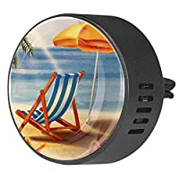 エッセンシャル オイル ベント クリップ用カー ディフューザー、椅子の傘のフリップフロップのトロピカルビーチの夕日 ,2 パック 40mm アロマセラピー芳香剤