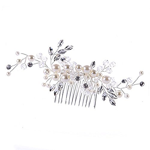 Urberry Bridal Flower Side Hair Clips Pearl Bridal Headpiece Wedding Accessories