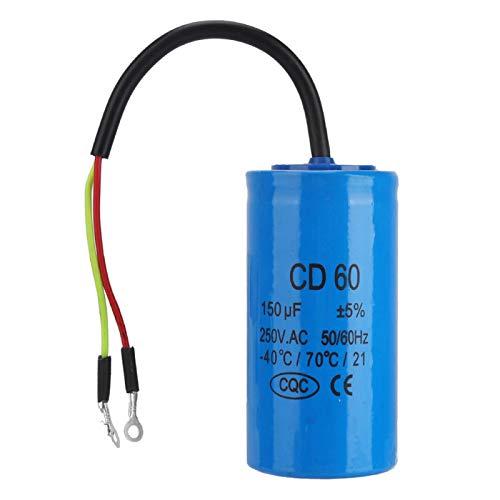 Lsaardth Condensador CD60 - Condensador CD60 Condensador de Funcionamiento con Cable 250V AC 150uF 50/60Hz para compresor de Aire de Motor