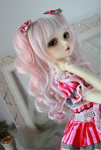 Tita-Doremi BJD Wig Ball-Jointed Doll 1/4 7-8 Inch 18-19Cm Dollfie MDD MSD Minifee AOD DOD DZ Pink Mix Toy Head Wig Hair (Wig Only, Not A Doll )
