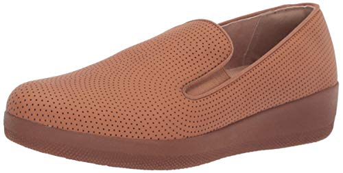 FitFlop Women's Superskate Perforated Skate Shoe, Light Tan, 8.5 M US