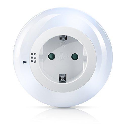 Brandson - LED Nachtlicht Orientierungslicht Nachtlampe - integrierter Helligkeits- Dämmerungssensor - drei wählbare Farben Weiß Grün Blau - integrierter Berührungsschutz - inkl. Zwischenstecker
