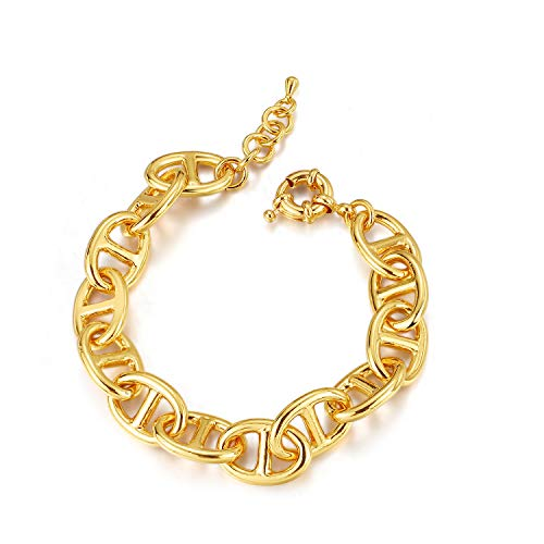 ailov Extra Large Gold Chain Bracelet for Women Bold Statement Wide Chain Layering Jewelry Miami Cuban Chain Inspired