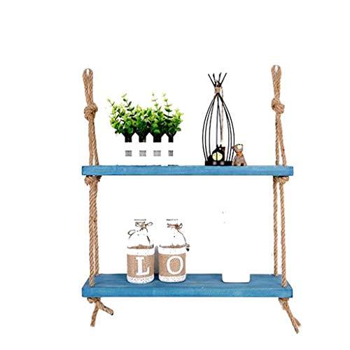 Mr.T Vintage LOFT Style Houten Wandplank Met Hennep Touw Planken Wandopknoping Boekenkast Opslagrek Muur Decoraties Ontwerp Blauw Wandrek