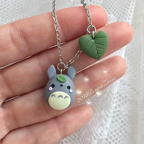 Collana Totoro ~ Cute tonarinototoro Miyazaki Ghibli Necklace Fimo Polymer Clay Kawaii My Neighbor Totoro Handmade Japan Bijoux Grigio Chibi