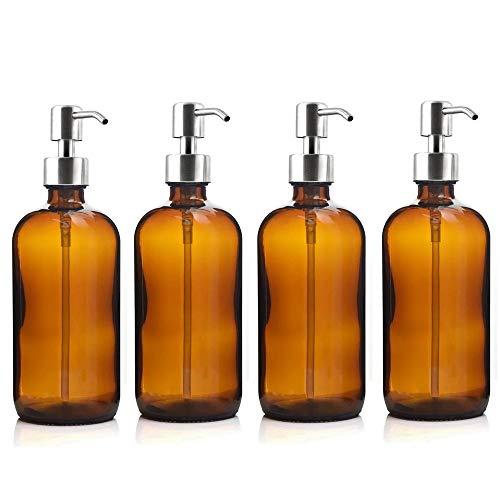 Cosméticos vacíos 4pcs 500 ml Botella de Bomba de Vidrio ámbar con Bomba de loción de Acero Inoxidable para baño Aceites Esenciales Champú Dispensador de jabón líquido Prueba de Fugas
