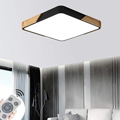 BFYLIN 60W LED Deckenleuchte Holz Lampe mit Fernbedienung - Deckenlampe Ultra-dünne 6cm für Schlafzimmer Wohnzimmer Kinderzimmer, Dimmbar (Eiche-Schwarz-60W Platz)