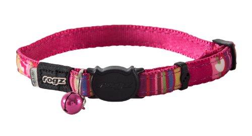 Rogz Catz NeoCat Small 1/8' Breakaway Cat Collar, Pink Candy Stripes Design