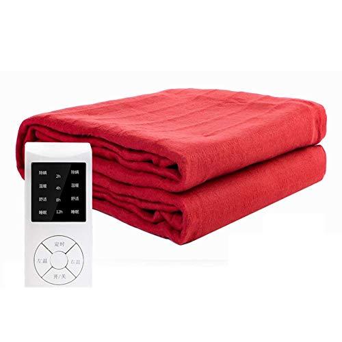 TLYS Heizdecke, Warme Decke/Thermostat Non-Woven Haushalt Doppelte Sicherheit Heizdecke,Rot,180x120cm