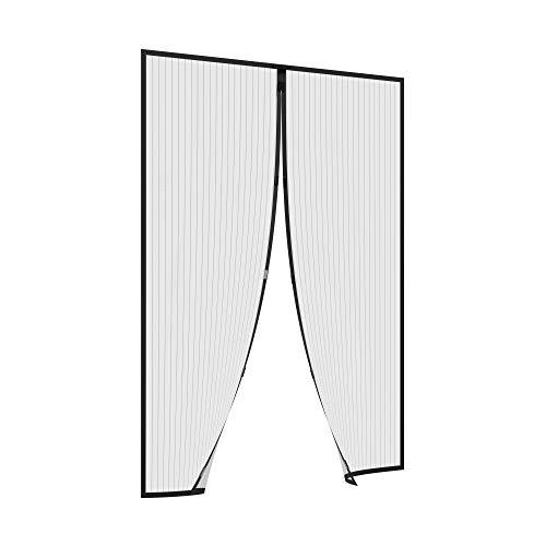 jarolift Fliegengitter Tür Balkontür Insektenschutz Fliegenvorhang ohne Bohren, mit Magnet-Verschluss, Höhe und Breite kürzbar, 110 x 220 cm (B x H), Schwarz