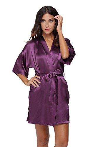 The Bund womens Pure Colour Short Kimono Robes with Oblique V-Neck purplered X-Large