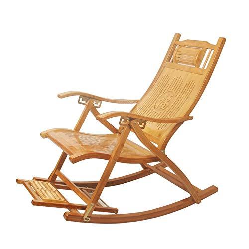 Luie stoel Verstelbare Rocking Chair, Nordic Balkon Leisure Folding Bamboe Stoel, Home Lunchpauze Lounge Chair, Comfortabel Relax schommelstoel met armsteun en Massage voetenbank