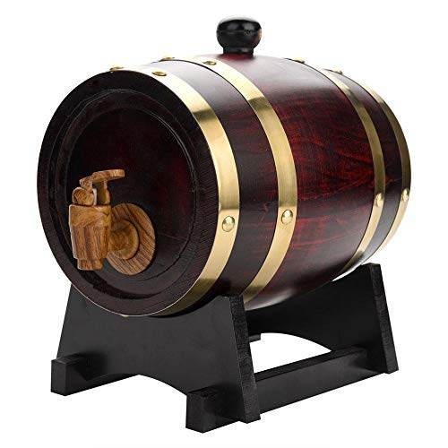 EBTOOLS 1.5 litros Barril de Vino de Madera de Roble, Tonel para Vino Retro con Soporte, Dispensador de Vino para Whisky Tequila Brandy, para Almacenar Vino o Bebidas