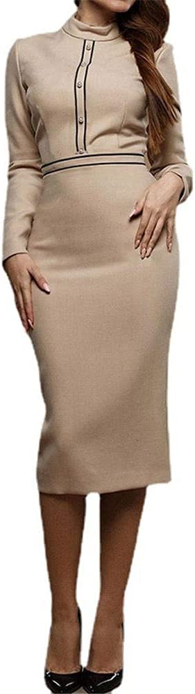 Women's Pencil Work Dresses Long Sleeve High Collar Office OL Bodycon Fashion Business Slim Fit Dress-Khaki_M