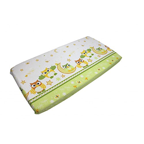 TupTam Sábana Adjustable para Cuna con Motivos para Bebé, Buhos Verde, 70 x 140 cm
