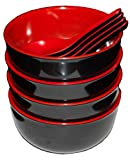 Calvin & Co Set of 4 Melamine Miso Soup Cereal Bowls and Spoons 5 inches (Small, Red & Black)