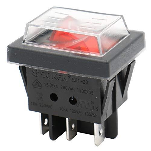 Heschen – Doppel-Kippschalter, SPST EIN-AUS, 6Terminals, rotes Licht, 16A, 250VAC mit wasserfester Abdeckung