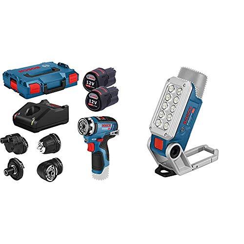 Bosch Professional 12V Akkuschrauber GSR 12V-35 FC Set (2X 3.0 Ah Akku, max. Bohr∅ Holz/Stahl: 32/10 mm), 12 V, blau & 12V System Akku LED-Lampe GLI 12V-330 (330 Lumen, Betriebszeit: 180 min/Ah)