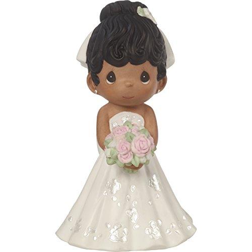 Precious Moments Perfect Couple Bride, Black Hair With Dark Skin Tone Bisque Porcelain Wedding Figurine & Cake Topper, 172067