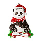 Personalized Panda Zoo Animals Christmas Tree Ornament 2021 - Cute Bamboo Bear Santa Hat Forest Collection Adventure Toy Costume Africa Nursery Gift Year Kingdom Holiday Love - Free Customization
