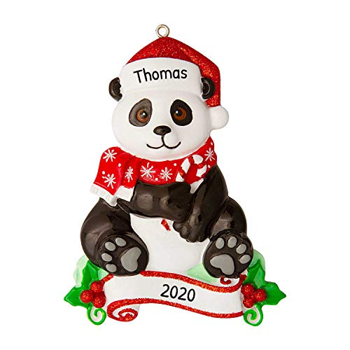 Personalized Panda Zoo Animals Christmas Tree Ornament 2020 - Cute Bamboo Bear Santa Hat Forest Collection Adventure Toy Costume Africa Nursery Gift Year Kingdom Holiday Love - Free Customization