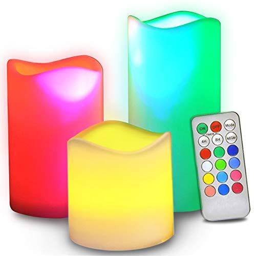 Velas sin llama con mando a distancia, [parpadeo real y color marfil real] con pilas – 12 velas LED preestablecidas para Navidad y Halloween