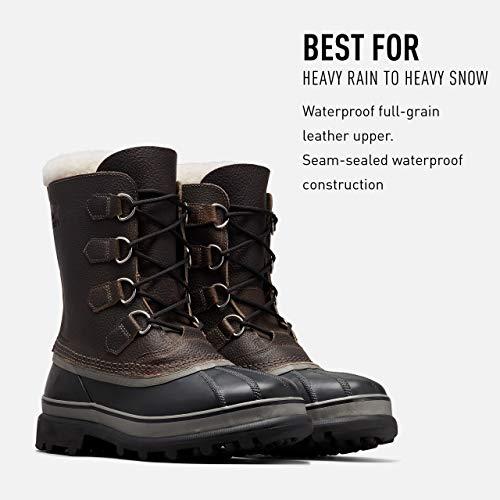 SOREL Men's Caribou WL Wool Boot — Quarry, Black — Waterproof Leather Snow Boots — Size 11.5