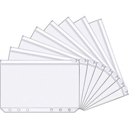 A6 Size 6 Holes Binder Pockets Plastic Binder Zipper Folders Waterproof 6 Holes Zipper Loose Leaf Bags for Documents Notebooks Cards (30)