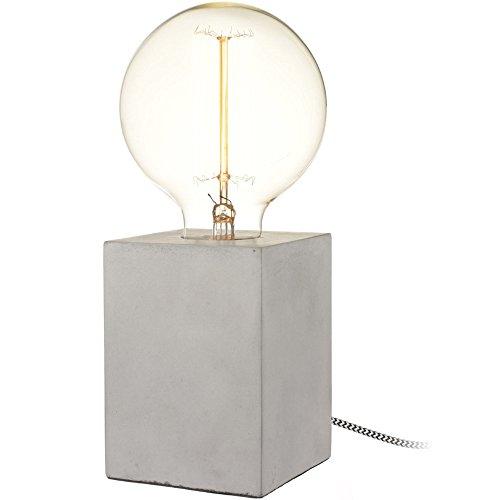 Design-tafellamp Cube Beton Cubus met textielkabel en grote decoratieve gloeilamp (Ø 13cm)